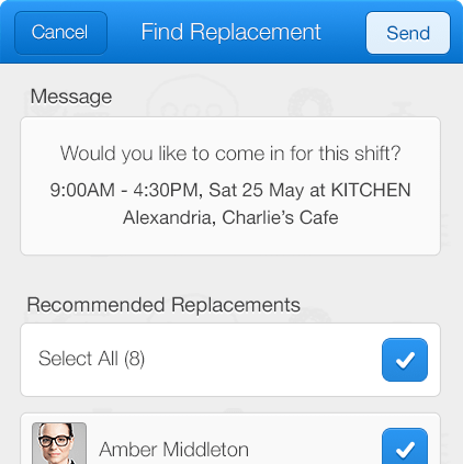 Notify employees of free shifts just by tapping a button.