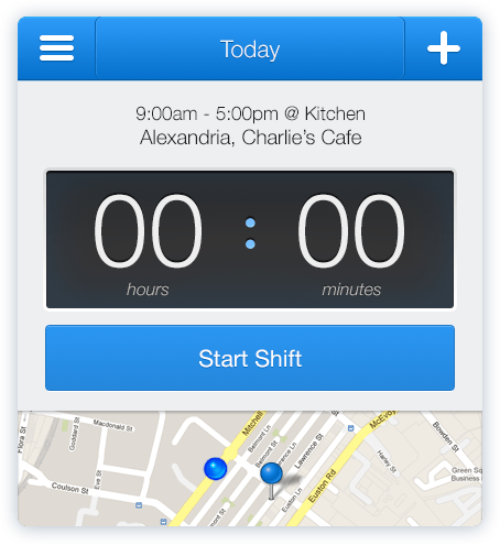 Start a shift with Deputy's iPhone app, including the location it was started from.