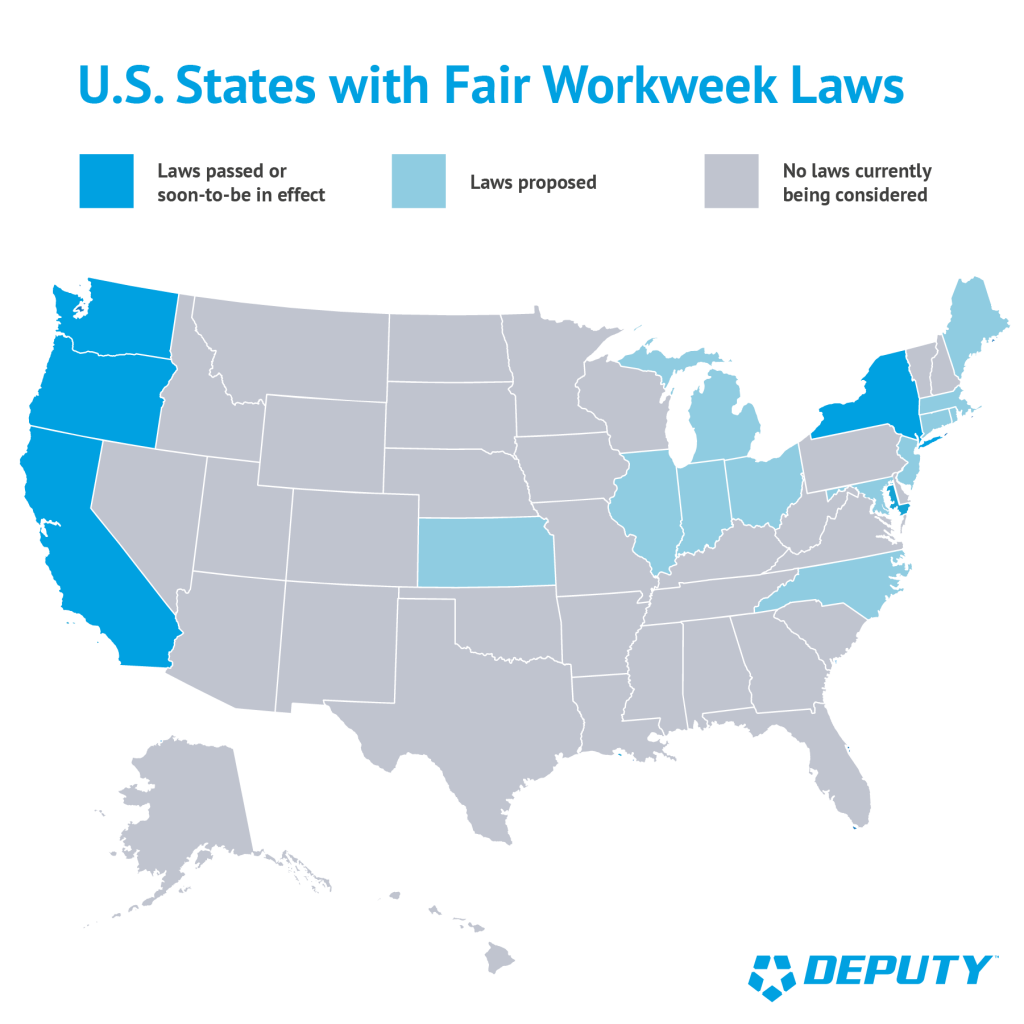 US States with Fair Workweek Laws-Deputy