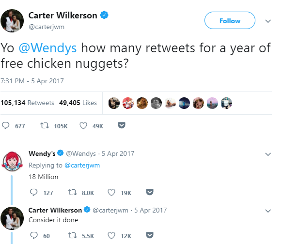 wendys-retweet for chicken nuggets tweet