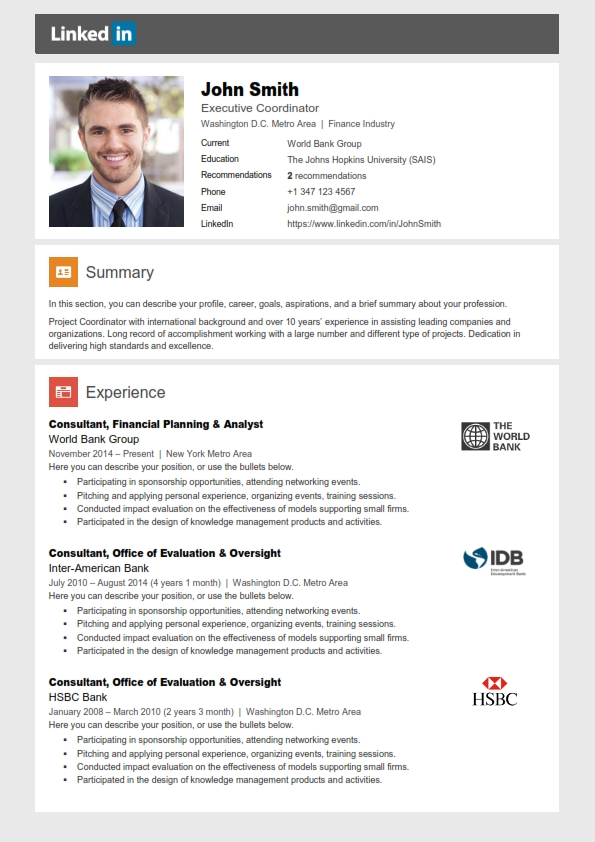 John Smith LinkedIn resume